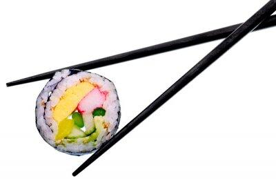 Poster Rullo di sushi con le bacchette nero isolato su sfondo bianco