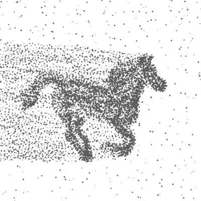 Poster Running Horse in particelle. Sfondo punteggiato. Vettore