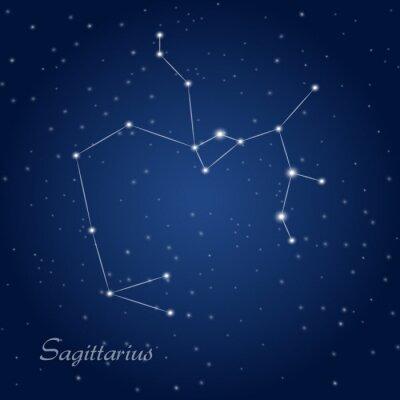 Poster Sagittario costellazione zodiacale a cielo notturno stellato