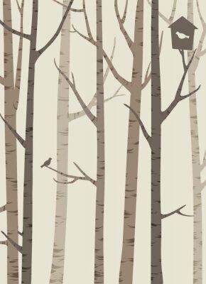 Poster sagome decorative di alberi con un uccello e Birdhouse