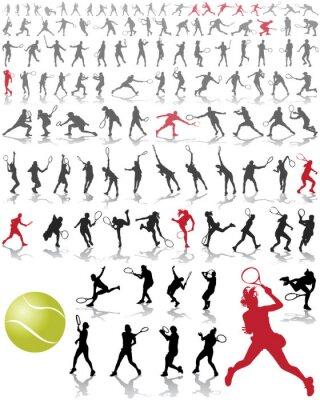 Poster Sagome e ombre dei giocatori di tennis, illustrazione vettoriale