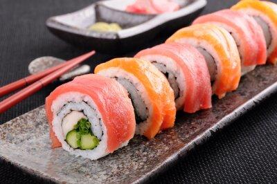 Poster Salmon & sushi di tonno rotolo