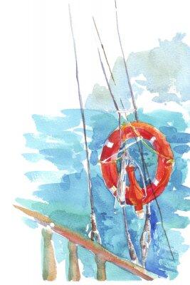 Poster salvagente oceano acquarello mare illustrazione
