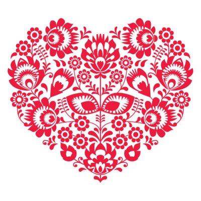 Poster San Valentino arte popolare cuore rosso - modello polacco