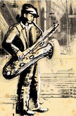 Poster sassofonista (disegno a mano full size - originale)