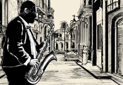 Poster sassofonista in una strada di Cuba