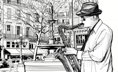 Poster sassofonista in una strada di Parigi