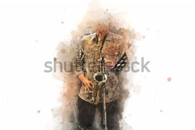 Poster Sassofono astratto in primo piano. Primo piano, pittura ad acquerello jazz che suona il sassofono.