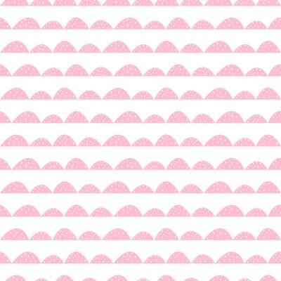 Poster Scandinavian rosa seamless in stile disegnato a mano. filari di collina stilizzati. Motivo a onde semplice per il tessuto, tessile e biancheria per neonati.