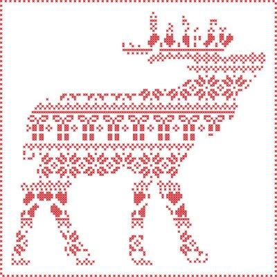 Poster Scandinavo Nordic cuciture inverno maglia modello di Natale in forma corpo renne compresi i fiocchi di neve, alberi di Natale cuori regali, neve, stelle, ornamenti decorativi 2 Xmas