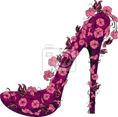 d71a610b36 Poster: Scarpe su un tacco alto decorato con fiori e farfalle