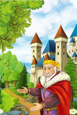 Poster scena del fumetto con felice re accogliente qualcuno - uomo manga bello - illustrazione per i bambini