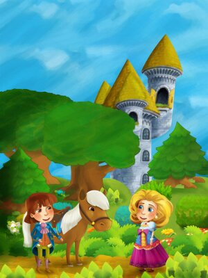 Poster Scena di foresta di cartone animato con il principe con il suo cavallo e principessa in piedi e parlando sul percorso vicino a torre del castello