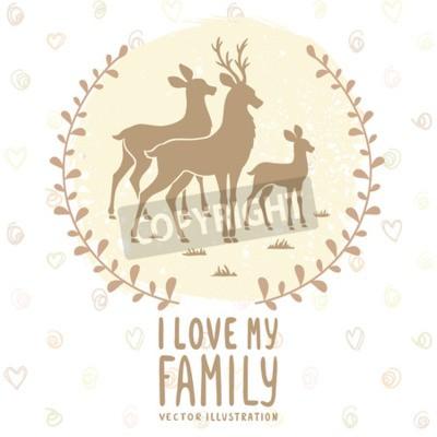 Poster Scheda elegante con silhouette di belle cervi famiglia. illustrazione di vettore