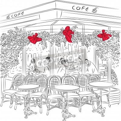 Poster Schizzo del caffè parigino con decorazioni natalizie
