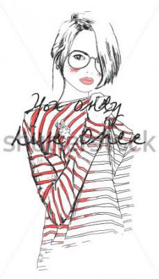 Poster schizzo di moda disegno ragazza con acquerello