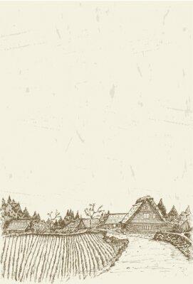 Poster Schizzo di villaggio patrimonio mondiale Shirakawa-go in Giappone