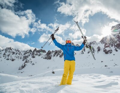 Poster Sciatore in alta montagna