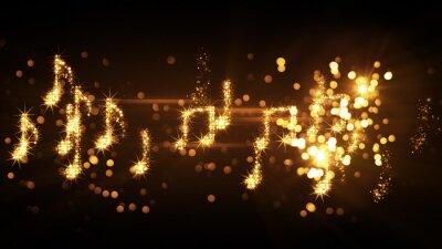 Poster scintillanti note di musica e fuochi d'artificio