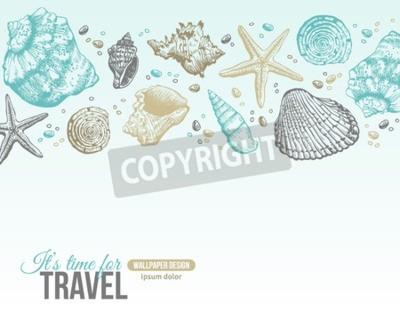Poster Sea Shells Estate cartolina Design. Vector Sfondo con conchiglie, stella di mare e sabbia. Disegnati a mano Acquaforte di stile. Posto per il testo.