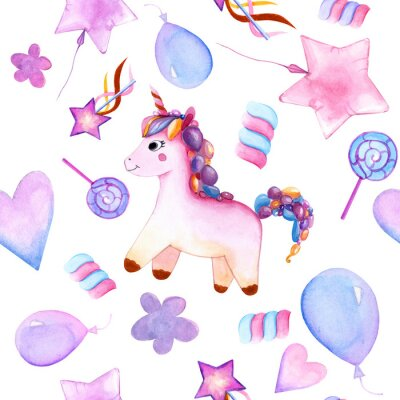 Poster seamless design. unicorn. Balloons. candy on a stick. marshmallows. flower. magic wand star. watercolor. happy Birthday