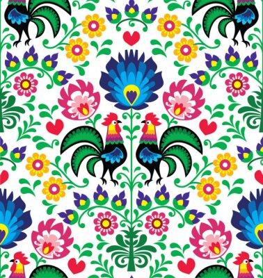 Poster Seamless modello tradizionale polacca floreale - Wzory Lowickie