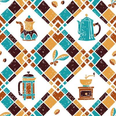 Poster Seamless pattern Argyle e caffettiere