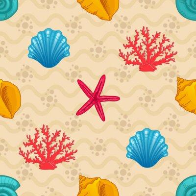 Poster Seamless pattern con conchiglia