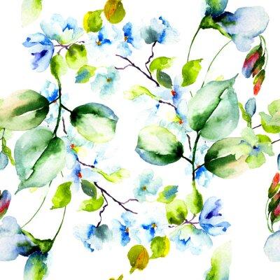 Poster Seamless pattern con fiori di primavera