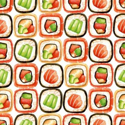Poster Seamless pattern con rotoli di sushi