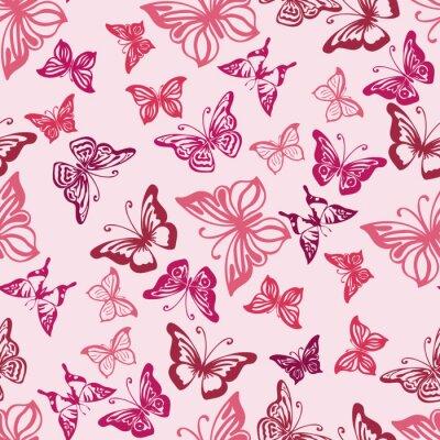 Poster Seamless pattern con sagome di farfalle