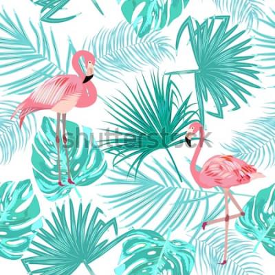 Poster Seamless pattern di fenicottero, foglie di monstera. Foglie tropicali di palma e fiori. Sfondo vettoriale