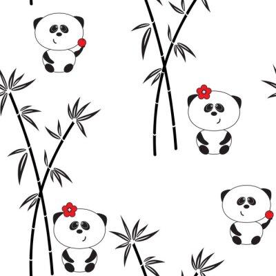 Poster Seamless pattern, illustrazione vettoriale, divertente panda