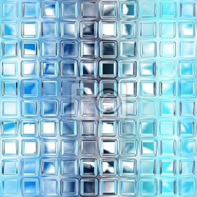 Poster Seamless Piastrelle Di Vetro Blu Trama