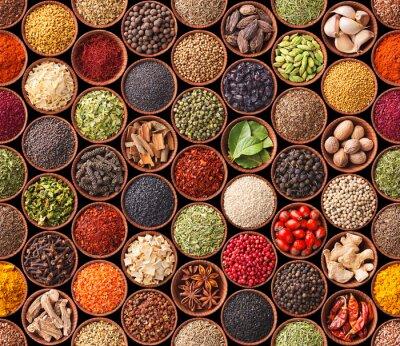Poster Seamless texture con spezie ed erbe aromatiche
