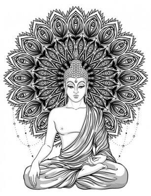 Poster Seduto Buddha su ornato fiore rosa. Illustrazione vettoriale d'epoca esoterica. Indiano, buddismo, arte spirituale. Hippie tattoo, spiritualità, dio thailandese, yoga zen
