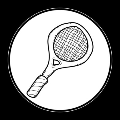 Poster Semplice Doodle di una racchetta da tennis