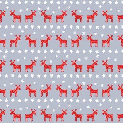 Poster Semplice senza soluzione di continuità modello retrò Natale - Natale renne, stelle e fiocchi di neve. Felice anno nuovo sfondo. Disegno vettoriale per le vacanze invernali su sfondo grigio.