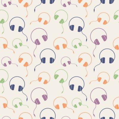 Poster Senza giunte di musica vettore modello, fondo caotico con le cuffie colorate, su sfondo luce