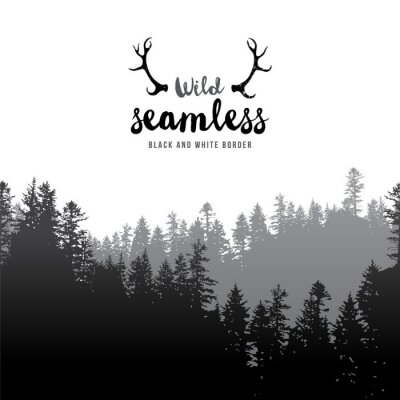 Poster senza soluzione di continuità bordo foresta di conifere