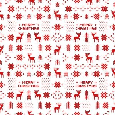 Poster senza soluzione di continuità modello retrò Natale rosso con cervi, alberi e fiocchi di neve