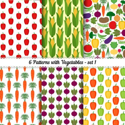 Poster Serie di modelli senza soluzione con diverse verdure