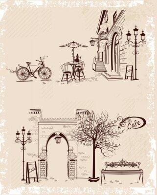 Poster Serie di sfondi decorati con vecchie viste su Città e caffè all'aperto.