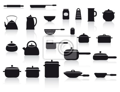 Set con pentole e utensili da cucina manifesti da muro • poster ...