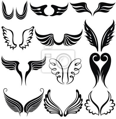 Tatuaggi Da Muro.Poster Set Di Ali Del Tatuaggio