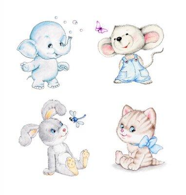 Poster Set di animali: elefante, topo, gatto, coniglio
