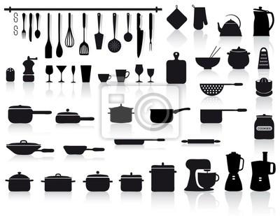 Set di attrezzi, pentole e posate da cucina manifesti da muro ...