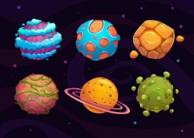 Poster Set di cartone animato pianeta fantasia
