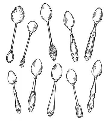 Poster Set di cucchiai, illustrazione disegnata a mano di vettore