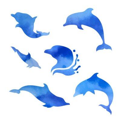 Poster Set di delfini acquerello